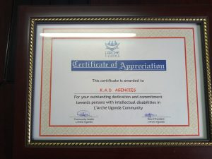 L'Arche Certificate Of Appreciation